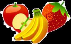 frukt bananer, äpplen, jordgubb